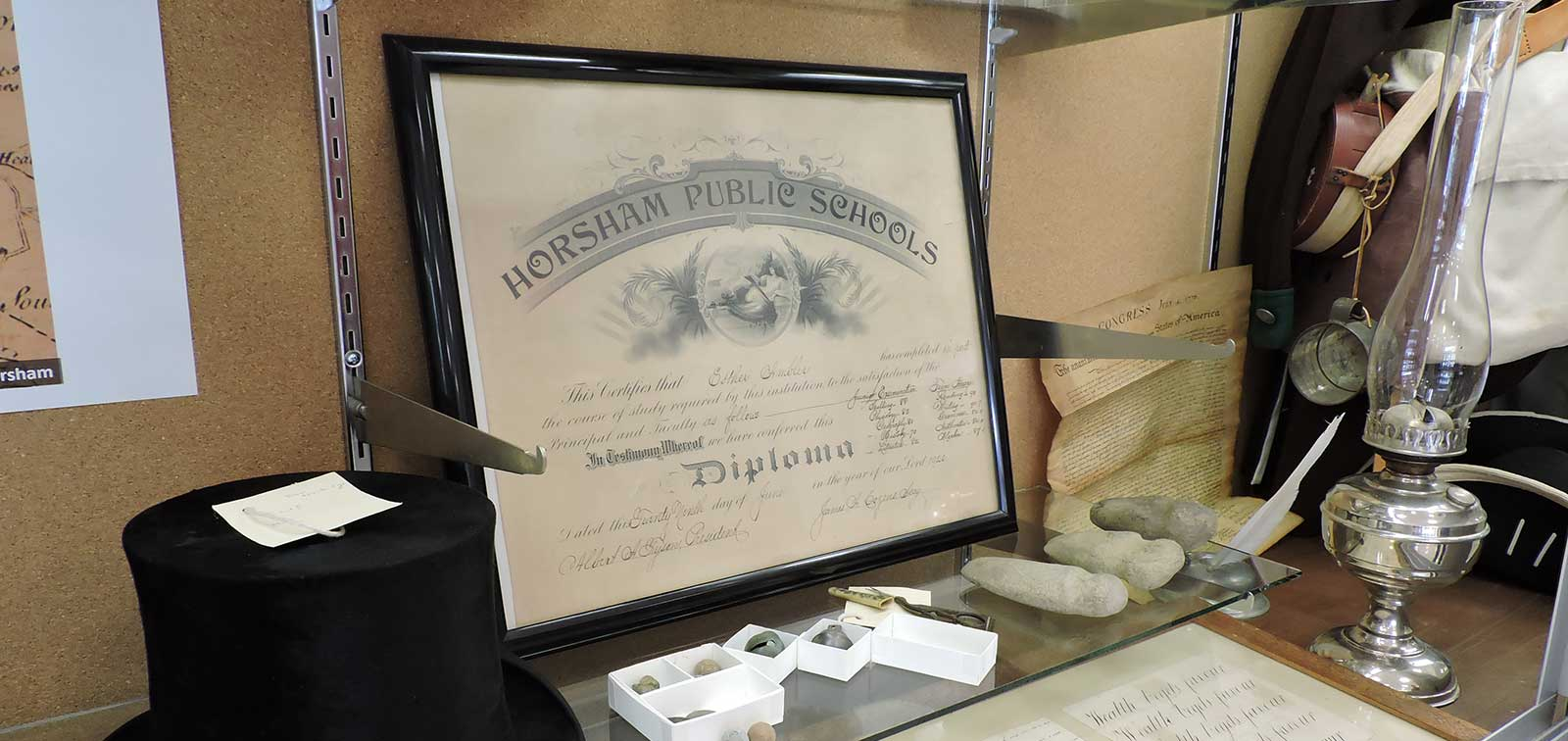 photo of diploma from Horsham Public Schools in Hallowell Elementary School historical exhibit
