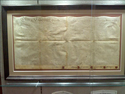 photo of Indenture on display at Horsham Library