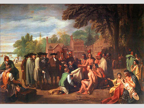 photo of Benjamin West painting Treaty of Penn with Indians