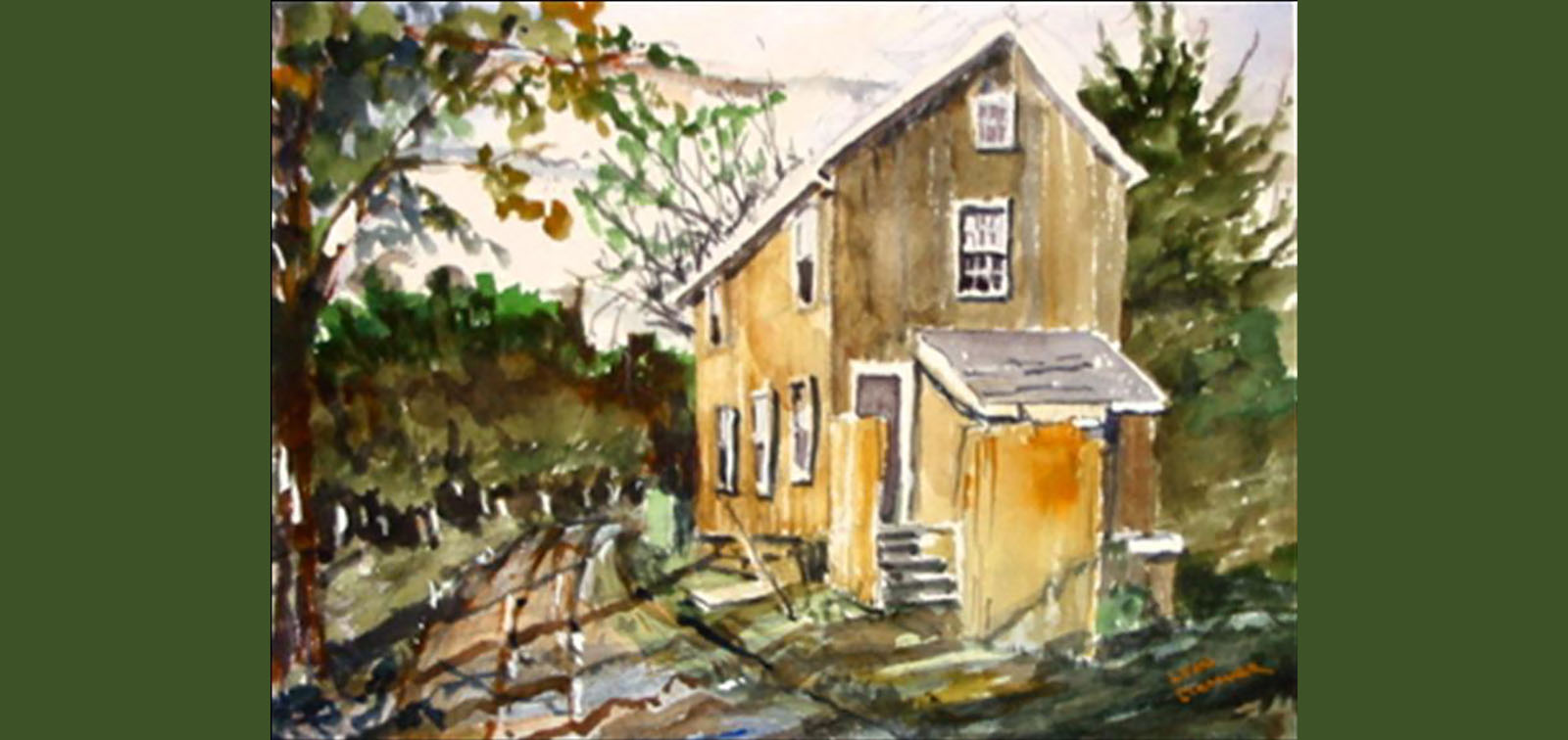 photo of watercolor of toll house on Limekiln Pike by Leon Clemmer