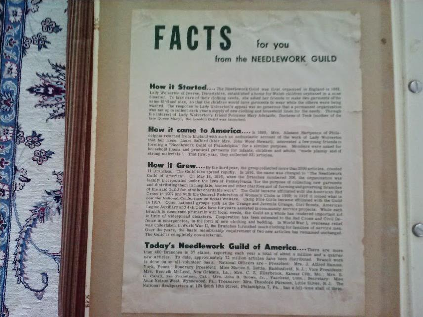 photo of FAQ page from Handbook of Prospectville  Needlework Guild of America