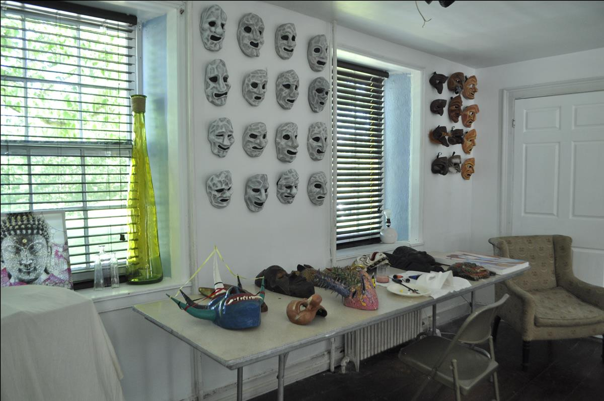 photo of Masks in Lori's 2nd Floor Art Studio from REMORSE